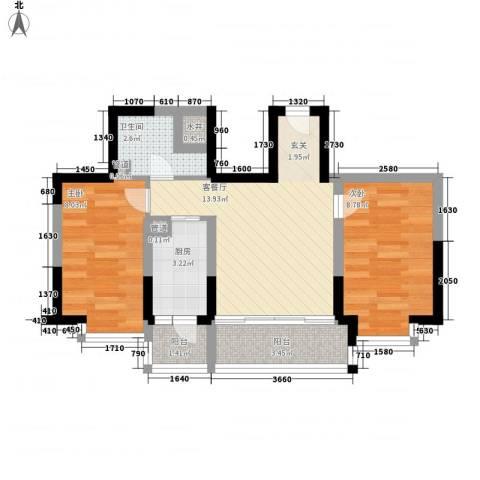 阳光绿景2室1厅1卫1厨64.00㎡户型图