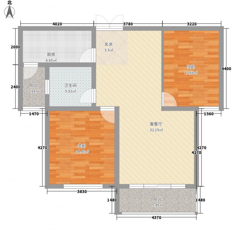 国华印象112.00㎡9#楼高层标准层L户型2室2厅1卫1厨