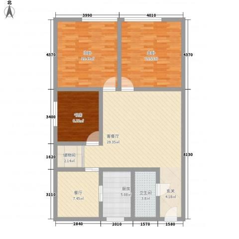 银领国际公寓3室2厅1卫1厨125.00㎡户型图