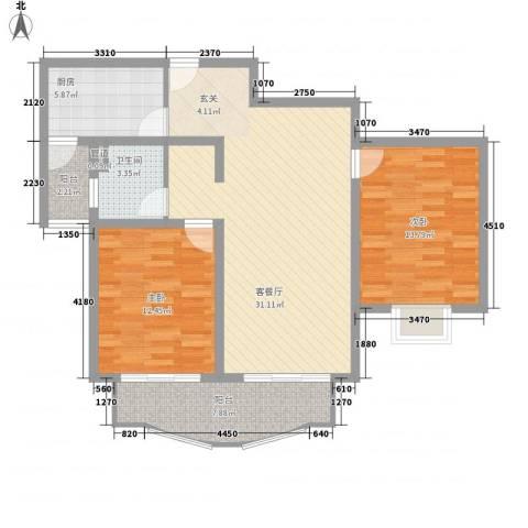中虹汇之苑2室1厅1卫1厨110.00㎡户型图