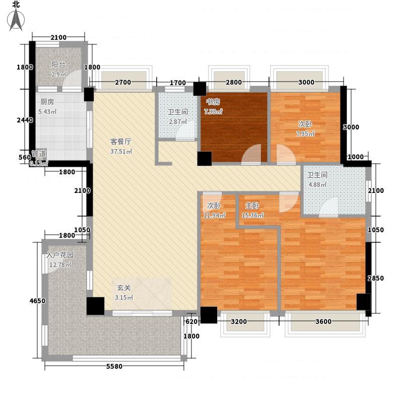 东方康桥144.00㎡7#02单元户型4室2厅2卫1厨