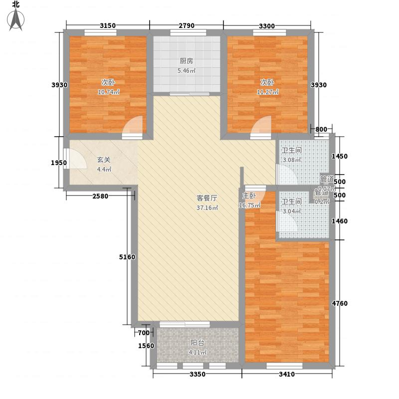 东方国际131.15㎡东方国际户型图B2户型3室2厅2卫1厨户型3室2厅2卫1厨