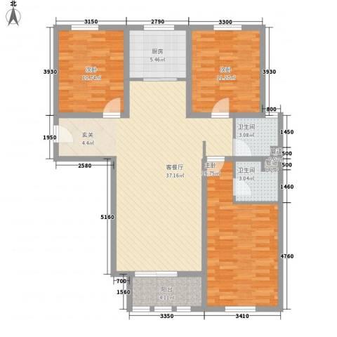 东方国际3室1厅2卫1厨104.92㎡户型图