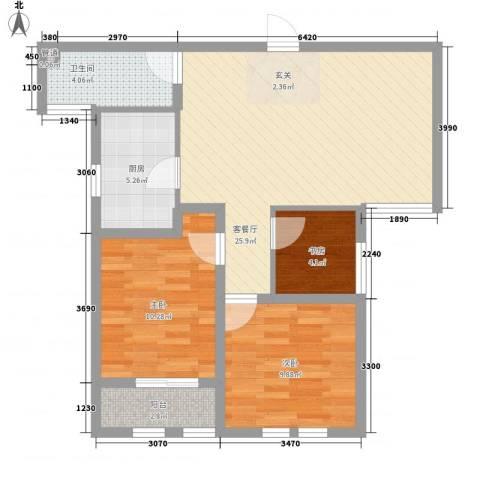 东方国际3室1厅1卫1厨71.91㎡户型图