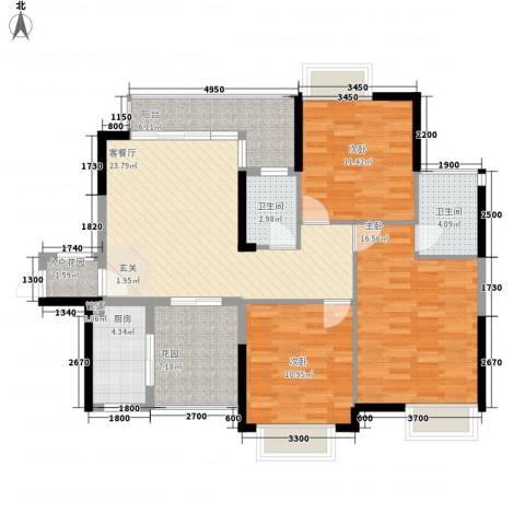 锦龙又一城二期君誉3室1厅2卫1厨111.00㎡户型图