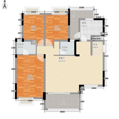 魅力空间3室1厅2卫1厨168.00㎡户型图