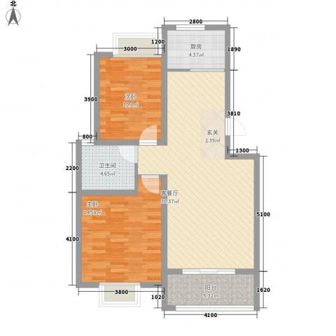 东方名城2室1厅1卫1厨99.00㎡户型图