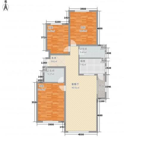 正园3室1厅2卫1厨128.00㎡户型图