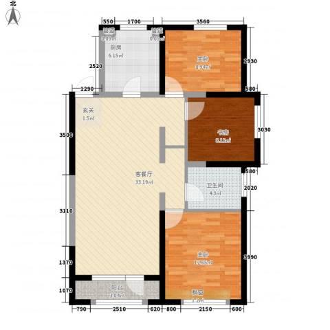 金地檀溪3室1厅1卫1厨111.00㎡户型图
