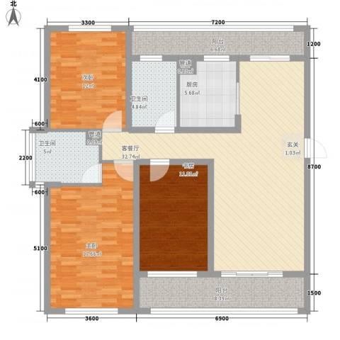 新莲岳里3室1厅2卫1厨151.00㎡户型图