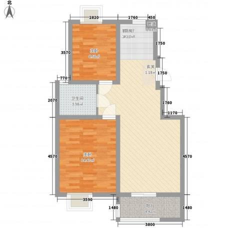 名城运河锦园2室1厅1卫0厨89.00㎡户型图