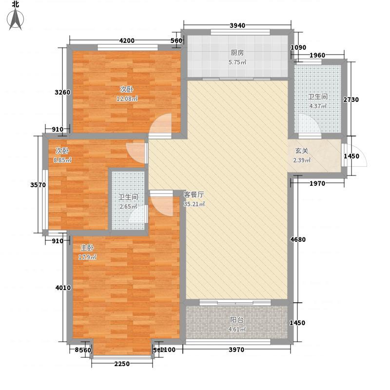 万福馨苑12.00㎡21#-27#楼标准层N1户型2室2厅1卫1厨