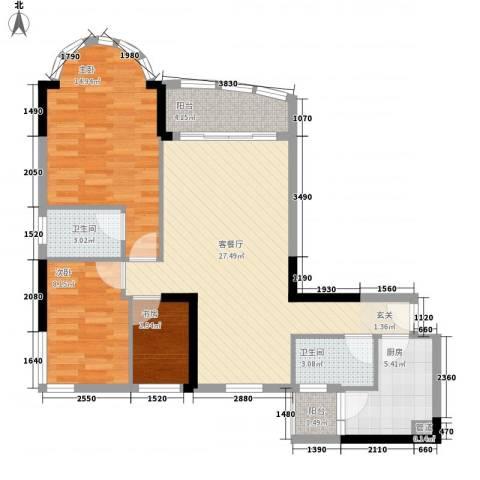逸景翠园碧桃居3室1厅2卫1厨103.00㎡户型图