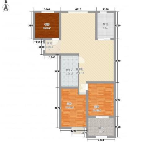 骏龙花园3室1厅1卫1厨127.00㎡户型图