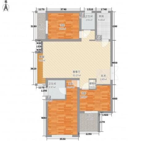 友林・国际城3室1厅2卫1厨134.00㎡户型图