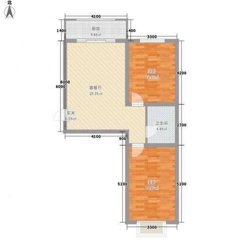 友谊馨居2室1厅1卫1厨61.69㎡户型图