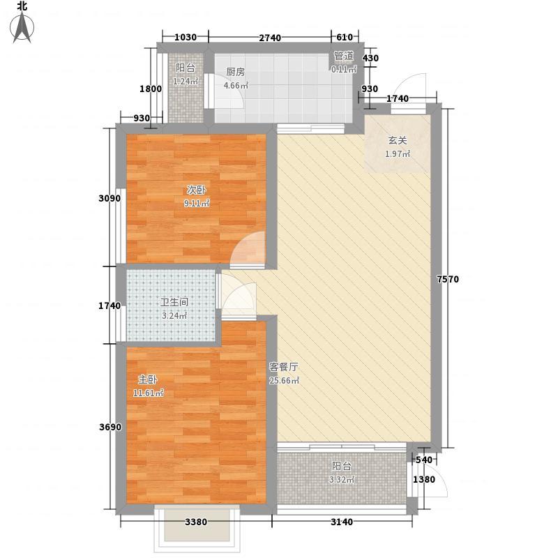 重庆桃源居国际花园78.24㎡一期2、4、5、6号楼标准层2B户型2室2厅1卫1厨