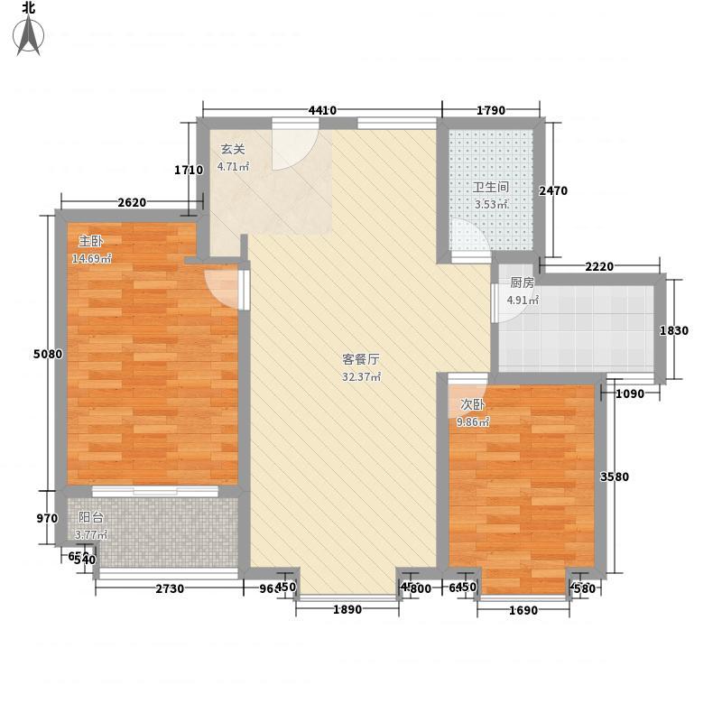 万福馨苑8.00㎡21#-27#楼标准层M2户型2室2厅1卫1厨