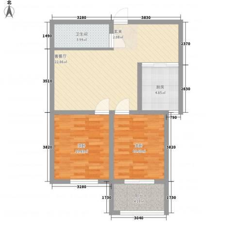 骏龙花园2室1厅1卫1厨83.00㎡户型图
