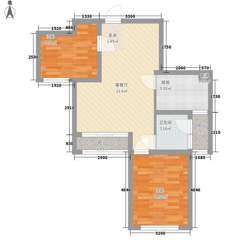 重庆桃源居国际花园6.51㎡一期2、4、5、6号楼标准层2C户型2室2厅1卫1厨