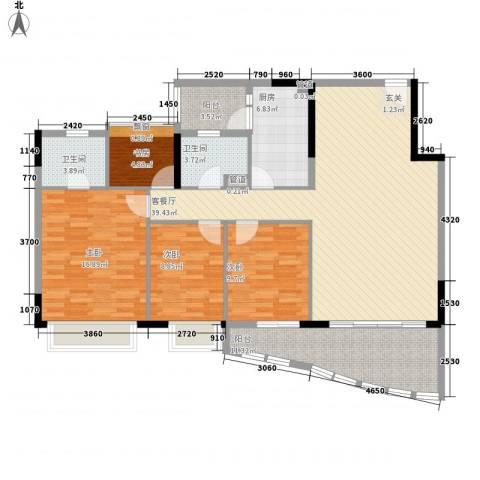逸景翠园碧桃居4室1厅2卫1厨153.00㎡户型图