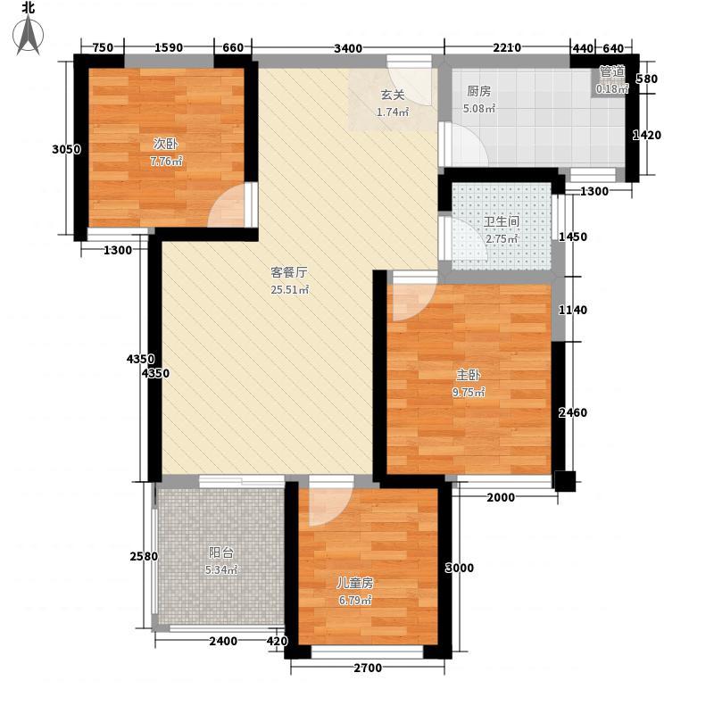 中铁世纪金桥3.20㎡12、13号楼E1户型3室2厅1卫1厨