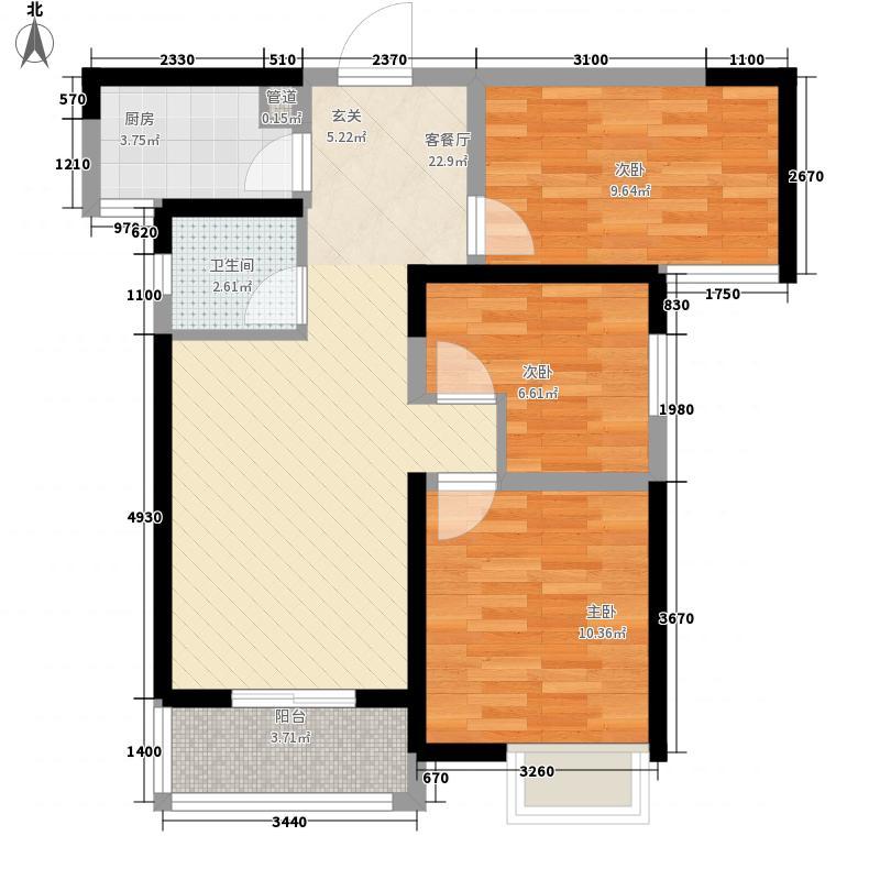 和润林湖美景88.00㎡B2户型3室2厅1卫1厨