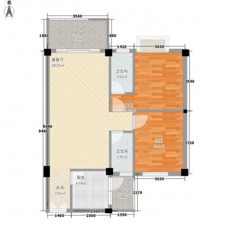 汉基花园2室1厅2卫1厨84.00㎡户型图