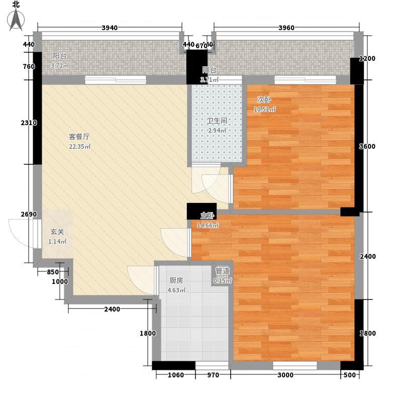 中博南湖康城2室1厅1卫1厨88.00㎡户型图