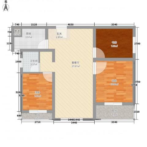 悦西湖・泊悦3室1厅1卫1厨96.00㎡户型图