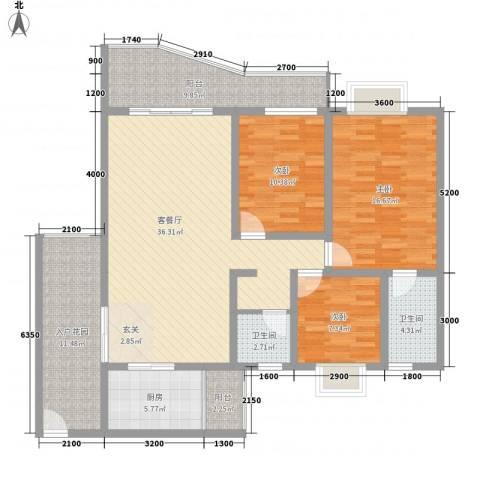 扫把塘检查院宿舍3室1厅2卫1厨154.00㎡户型图