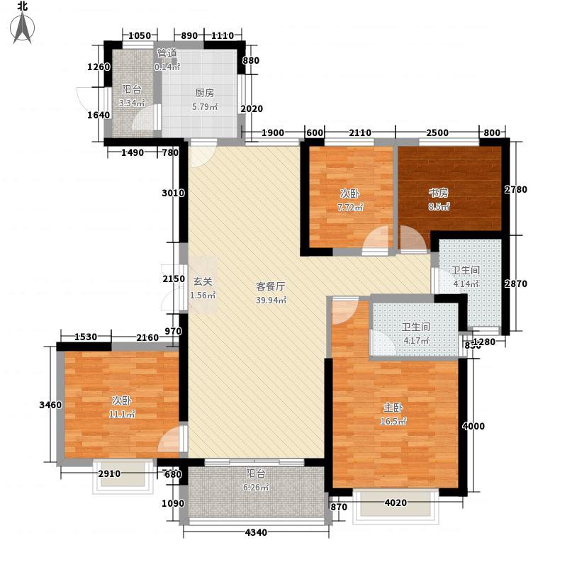 恒大城152.00㎡6号楼2单元AB户型4室2厅2卫1厨