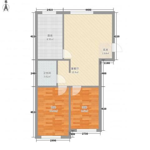 广东省技术监督局宿舍2室1厅1卫1厨84.00㎡户型图