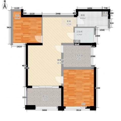 天慧紫辰阁2室1厅1卫1厨90.00㎡户型图