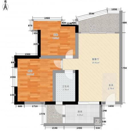 紫荆花园六期2室1厅1卫1厨62.00㎡户型图