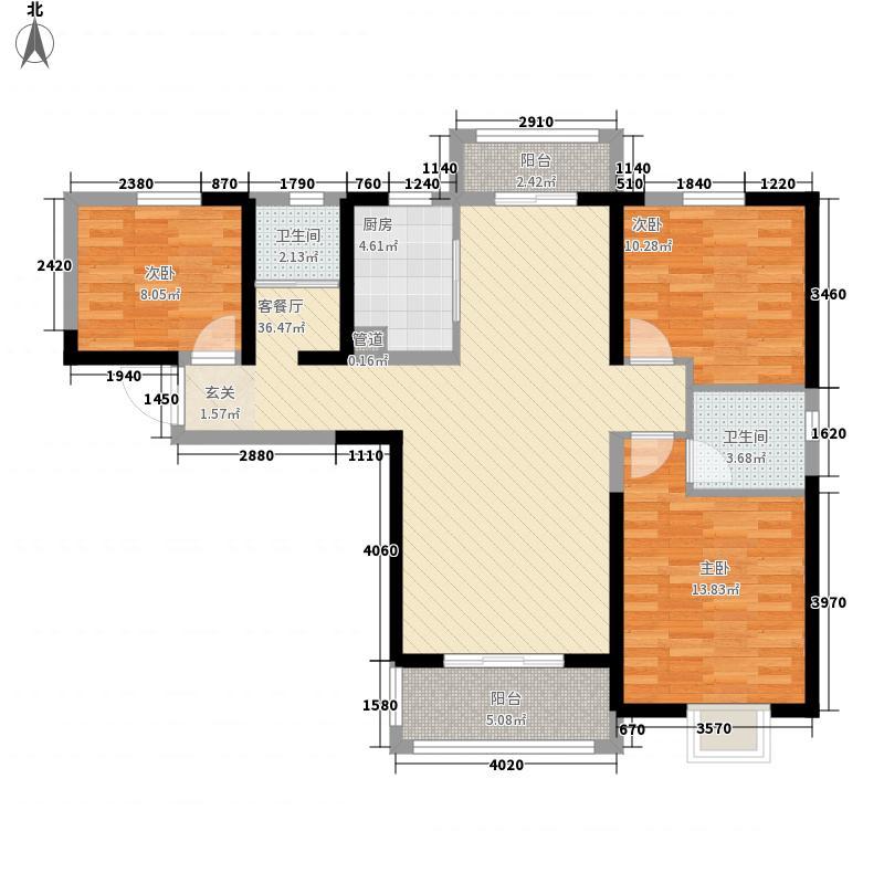 和润林湖美景3室1厅2卫1厨125.00㎡户型图