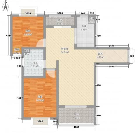 黄山湖公馆2室1厅1卫1厨128.00㎡户型图