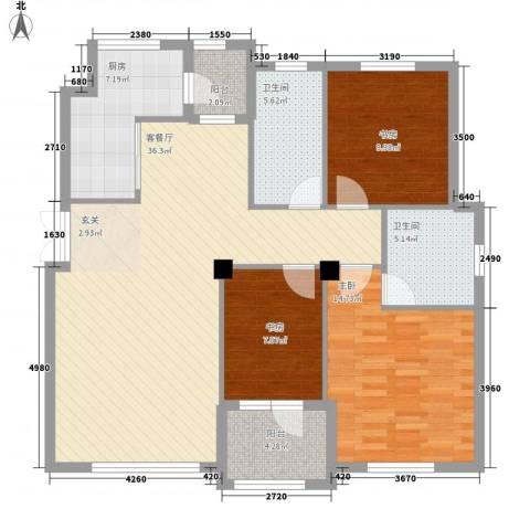益溢苑3室1厅2卫1厨131.00㎡户型图