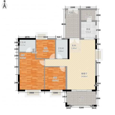 佛奥阳光花园3室1厅2卫1厨139.00㎡户型图