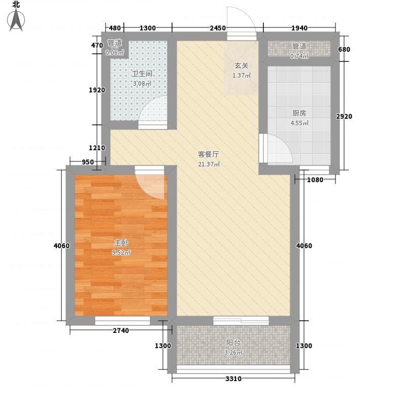 青城64.00㎡一期J户型1室2厅1卫1厨