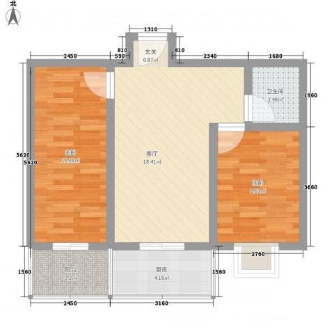 幸福苑2室1厅1卫1厨56.78㎡户型图