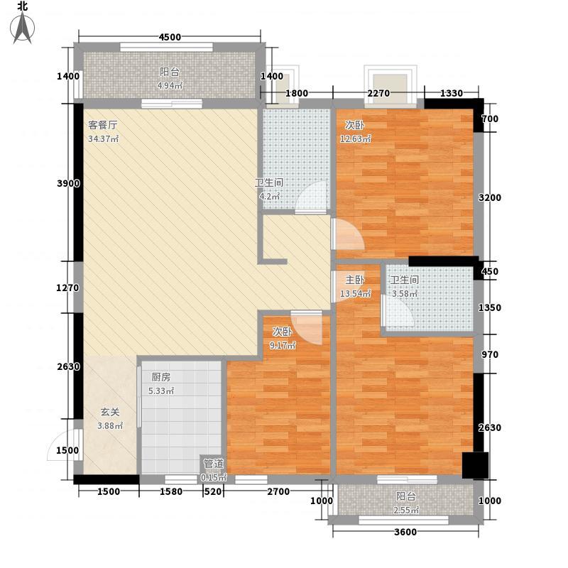 西湖广场131.50㎡1号楼C1户型3室2厅2卫1厨