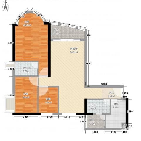 逸景翠园碧桃居3室1厅2卫1厨104.00㎡户型图