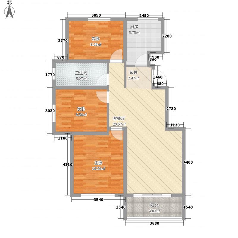 万福馨苑11.00㎡21#-27#楼标准层C户型3室2厅1卫1厨