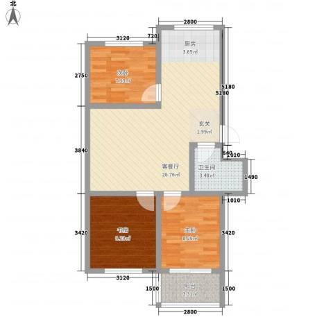华安东方明珠3室1厅1卫0厨84.00㎡户型图