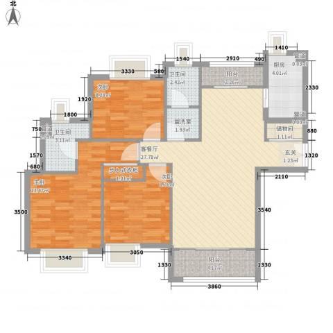 曙光新苑3室1厅2卫1厨112.00㎡户型图