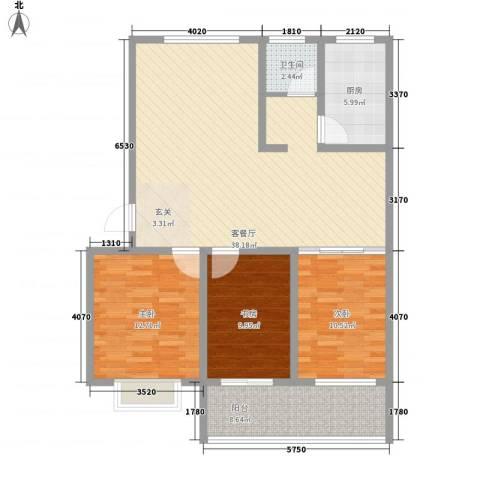 华安东方明珠3室1厅1卫1厨124.00㎡户型图