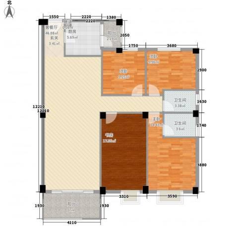 汉基花园4室1厅2卫1厨135.00㎡户型图
