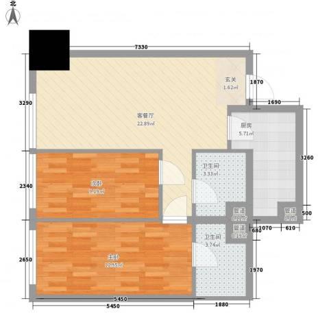 花明大厦2室1厅2卫1厨84.00㎡户型图