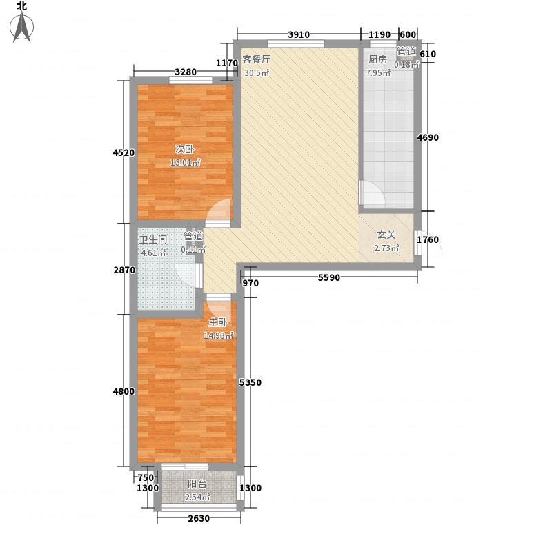 融鼎御品7.51㎡B户型2室2厅1卫1厨